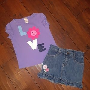 Gymboree girls 2pc Set Short Skort Top Outfit 5T/5